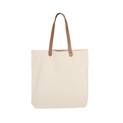 Bolsa de Uso Personal color natural con manillas de cuero 45x45x8 (cm)