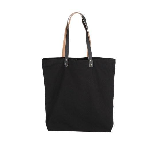 Bolsa de Uso Personal color negro con manillas de cuero 45x45x8 (cm)